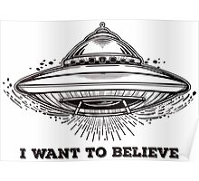 Alien Spaceship. UFO flying saucer.  Poster