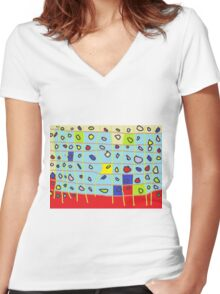 cakes abstract Women's Fitted V-Neck T-Shirt