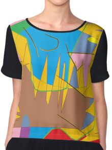 Full-color abstract scribble background Chiffon Top