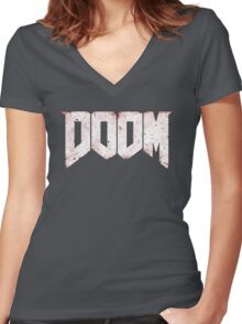 New DOOM logo game HQ Women's Fitted V-Neck T-Shirt