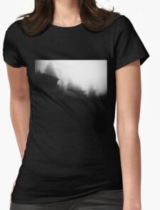 Cabin on a foggy morning Womens Fitted T-Shirt