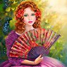 Girl beautiful with a fan against a grape garden. by Alena Lazareva
