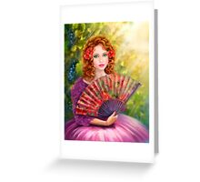 Girl beautiful with a fan against a grape garden. Greeting Card