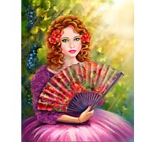 Girl beautiful with a fan against a grape garden. Photographic Print