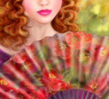 Girl beautiful with a fan against a grape garden. Sticker