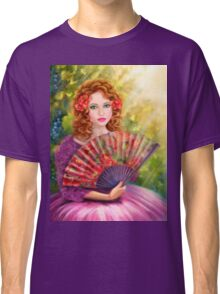 Girl beautiful with a fan against a grape garden. Classic T-Shirt
