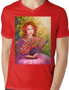 Girl beautiful with a fan against a grape garden. Mens V-Neck T-Shirt