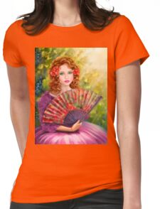 Girl beautiful with a fan against a grape garden. Womens Fitted T-Shirt