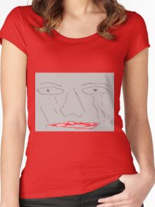 Worried and sad face Women's Fitted Scoop T-Shirt