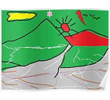 View of mountains landscape abstract Poster