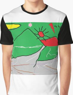 View of mountains landscape abstract Graphic T-Shirt