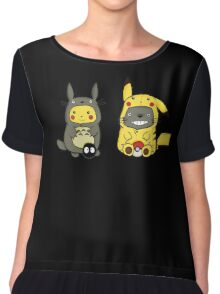 Totoro And Pikachu Chiffon Top