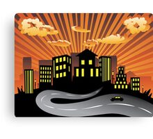 Sunset City and Road Silhouette Canvas Print