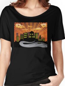 Sunset City and Road Silhouette Women's Relaxed Fit T-Shirt