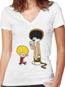 CLASSIC COMIC : AFRO CALVIN & HOBBES TEE Women's Fitted V-Neck T-Shirt