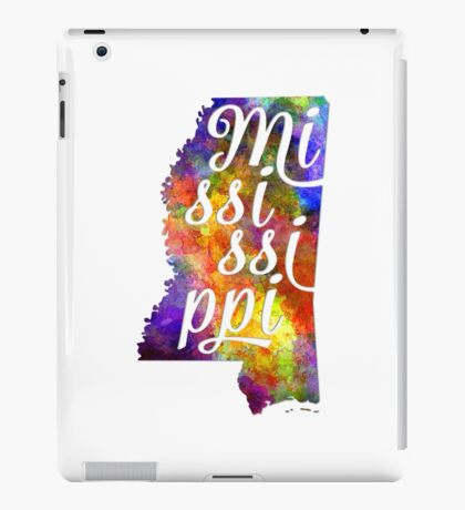 Mississippi US State in watercolor text cut out iPad Case/Skin
