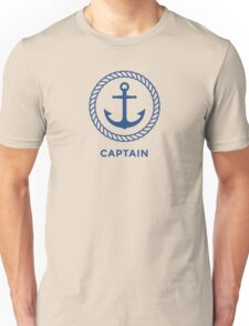 """Nautical anchor inside rope border and blue text """"Captain"""" Unisex T-Shirt"""