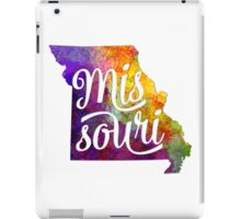 Missouri US State in watercolor text cut out iPad Case/Skin