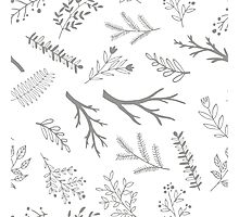 Grey cute branches pattern Photographic Print