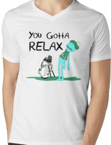 Mr. Meeseeks Quote T-shirt - You Gotta Relax - White Mens V-Neck T-Shirt