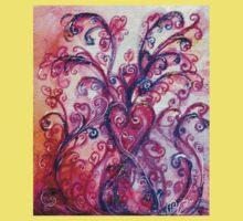 PINK HEART WITH FUCHSIA PURPLE WHIMSICAL FLOURISHES  Baby Tee