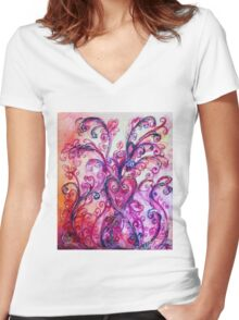 PINK HEART WITH FUCHSIA PURPLE WHIMSICAL FLOURISHES  Women's Fitted V-Neck T-Shirt