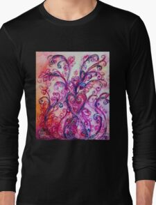 PINK HEART WITH FUCHSIA PURPLE WHIMSICAL FLOURISHES  Long Sleeve T-Shirt