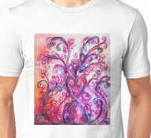PINK HEART WITH FUCHSIA PURPLE WHIMSICAL FLOURISHES  Unisex T-Shirt