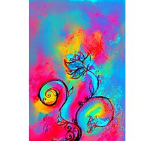 PINK FUCHSIA BLUE YELLOW WHIMSICAL FLOWERS Photographic Print