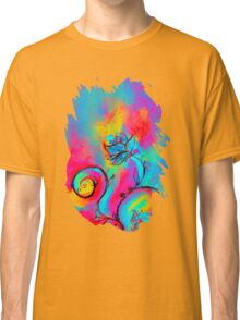 PINK FUCHSIA BLUE YELLOW WHIMSICAL FLOWERS Classic T-Shirt