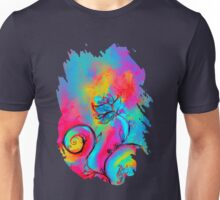 PINK FUCHSIA BLUE YELLOW WHIMSICAL FLOWERS Unisex T-Shirt