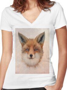 Vulpes vulpes - Red Fox Women's Fitted V-Neck T-Shirt