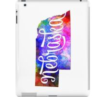 Nebraska US State in watercolor text cut out iPad Case/Skin