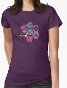 Patchwork in Pinks and Purples Womens Fitted T-Shirt