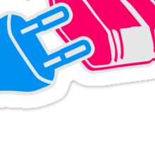 plug socket plug power extension cable design energy tuck connection pink blue boy girl woman man sex Sticker
