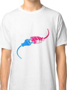 plug socket plug power extension cable design energy tuck connection pink blue boy girl woman man sex Classic T-Shirt