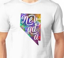 Nevada US State in watercolor text cut out Unisex T-Shirt