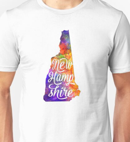 New Hampshire US State in watercolor text cut out Unisex T-Shirt