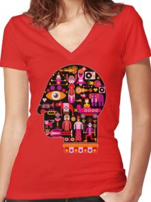 Cubista Face Women's Fitted V-Neck T-Shirt