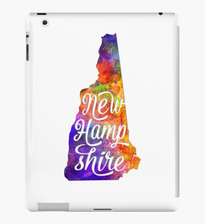New Hampshire US State in watercolor text cut out iPad Case/Skin