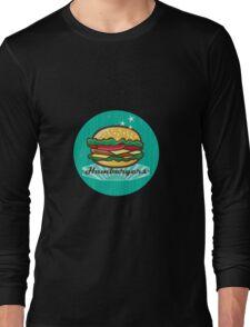 Retro 1950s Diner  Hamburger Circle Long Sleeve T-Shirt