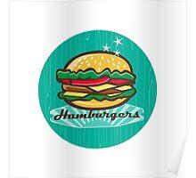 Retro 1950s Diner  Hamburger Circle Poster