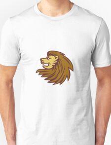 Lion Big Cat Head Woodcut T-Shirt