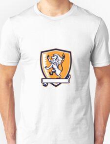 Lion Prancing Crest Woodcut T-Shirt