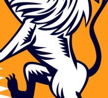 Lion Prancing Crest Woodcut Sticker