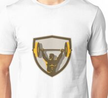 Weightlifter Lifting Barbell Crest Retro Unisex T-Shirt
