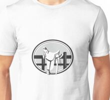 Old Style Western Saddle on Fence Oval Black and White Unisex T-Shirt