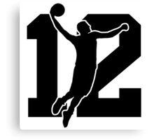 Basketball logo number 12 Canvas Print