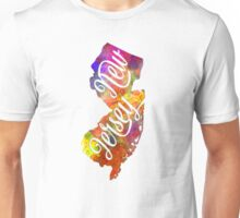 New Jersey US State in watercolor text cut out Unisex T-Shirt