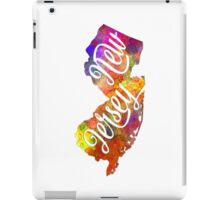 New Jersey US State in watercolor text cut out iPad Case/Skin